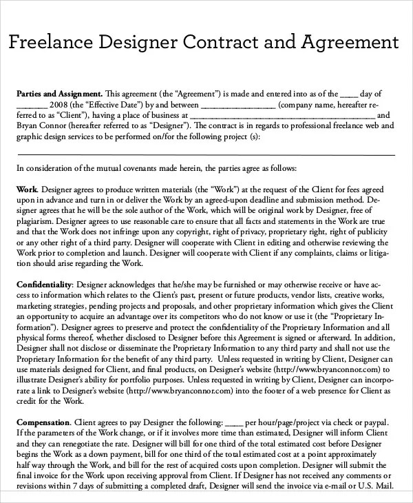 Freelance Contract Templates - 7+ Free Word, PDF Format Download