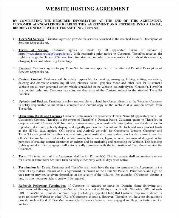 Hosting Agreement Templates - 11 Free Word, PDF Format Download