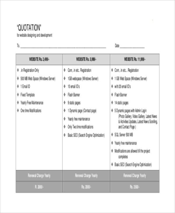6+ Website Quotation Templates - PDF Free  Premium Templates - website quotation