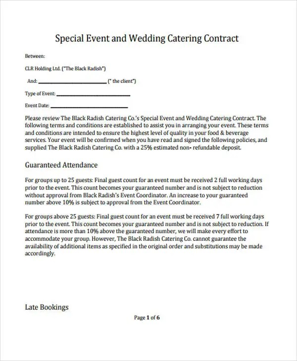 9+ Catering Contract Templates - Free Sample, Example Format - catering contract template