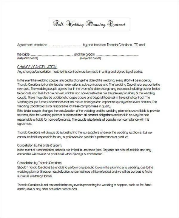 Free Event Planner Contract Template event planning checklist - wedding contract template