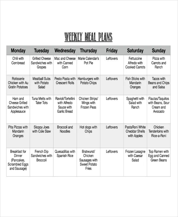 9+ Meal Calendar Templates - Free Sample, Example Format Download