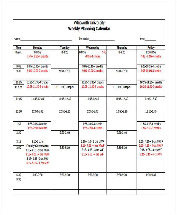 10+ Planning Calendar Templates - Free Sample, Example format - sample planning calendar