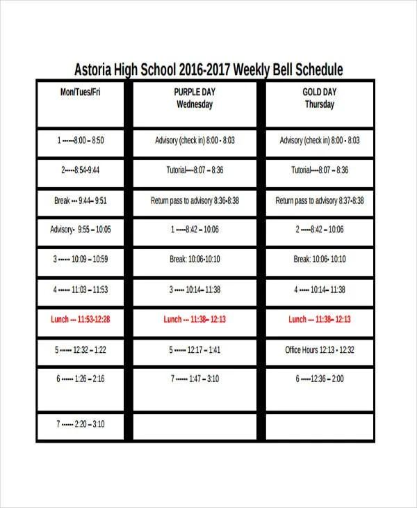 Class Schedule Template Sample 6 excel class schedule template - class schedule template sample