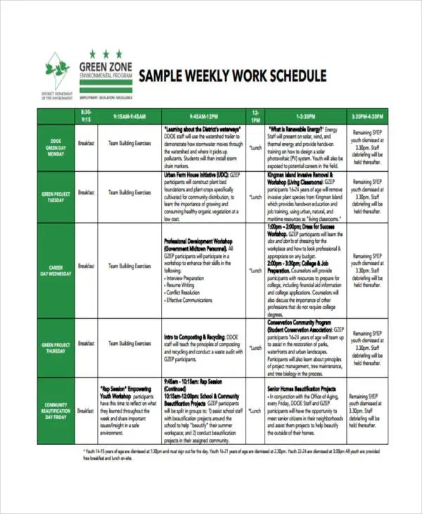 Work Schedule Template - 14+ Free Sample, Example Format Download