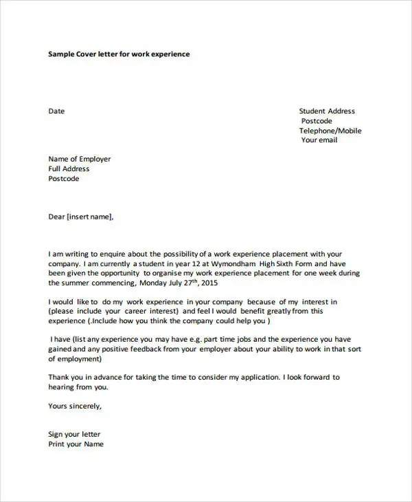 Cover Letter for Student - 10+ Free Word, PDF Format Download Free - cover letter student