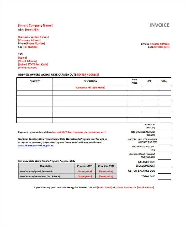 38+ Sample Invoice Templates - Word, PDF, Excel Free  Premium