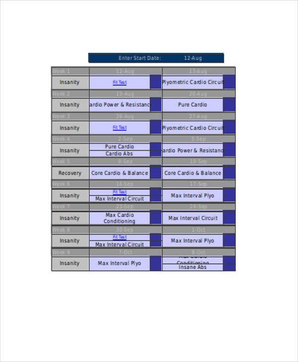 Workout Sheet Templates - 7+ Free Word, PDF Format Download Free
