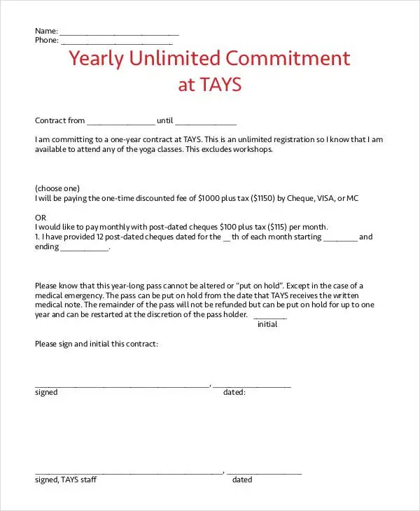 Yearly Contract Templates - 7+ Free Word, PDF Format Download - yearly contract template