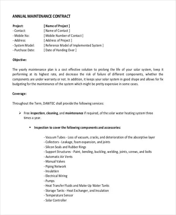 Yearly Contract Templates - 7+ Free Word, PDF Format Download Free