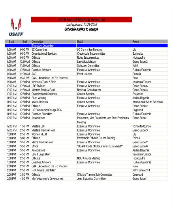 quarterly meeting schedule template xv-gimnazija