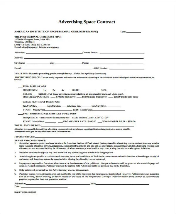 9+ Advertising Contract Templates - Sample, Examples Free - advertising contract template
