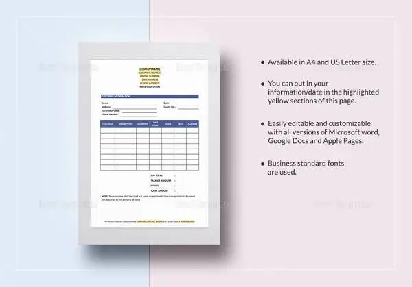 Doc#460595 Price Quotation u2013 Price Quotation Format Template - business quotation sample