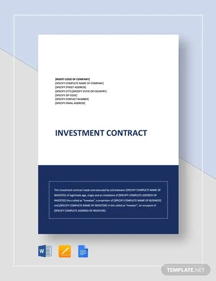 16+ Investment Contract Templates - Google Docs, Word Download