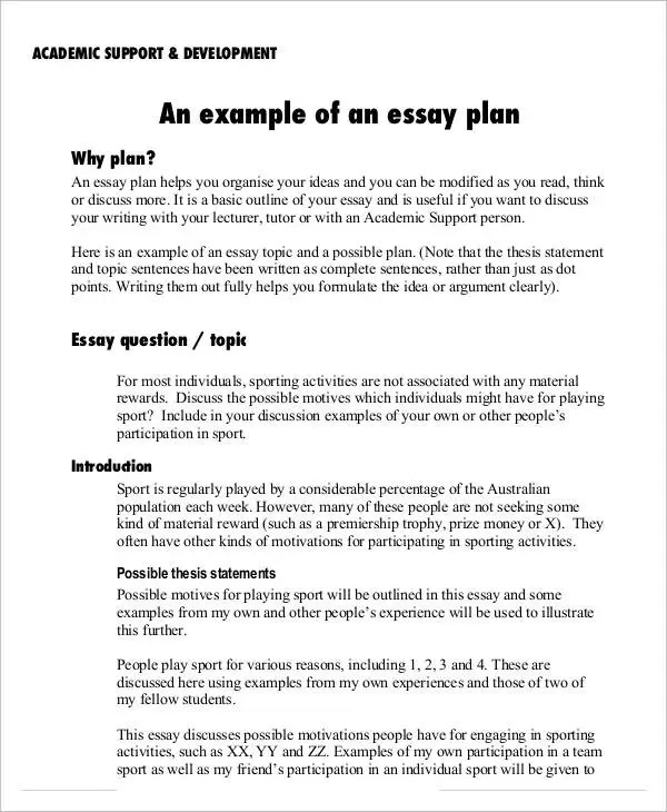 8 Essay Plan Templates - Free Sample, Example Format Download - academic essay