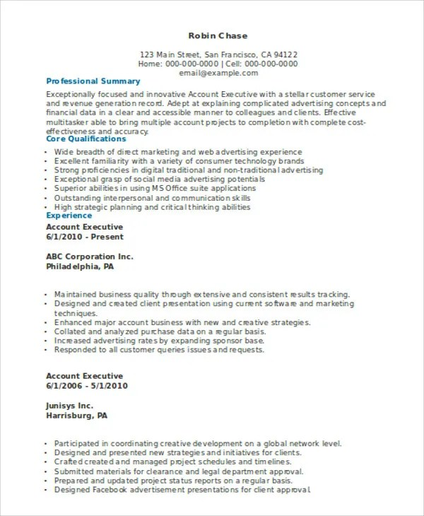 account executive resume samples sales account executive resume