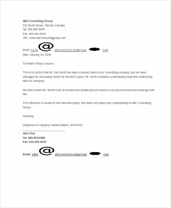 accountant reference recommendation letters