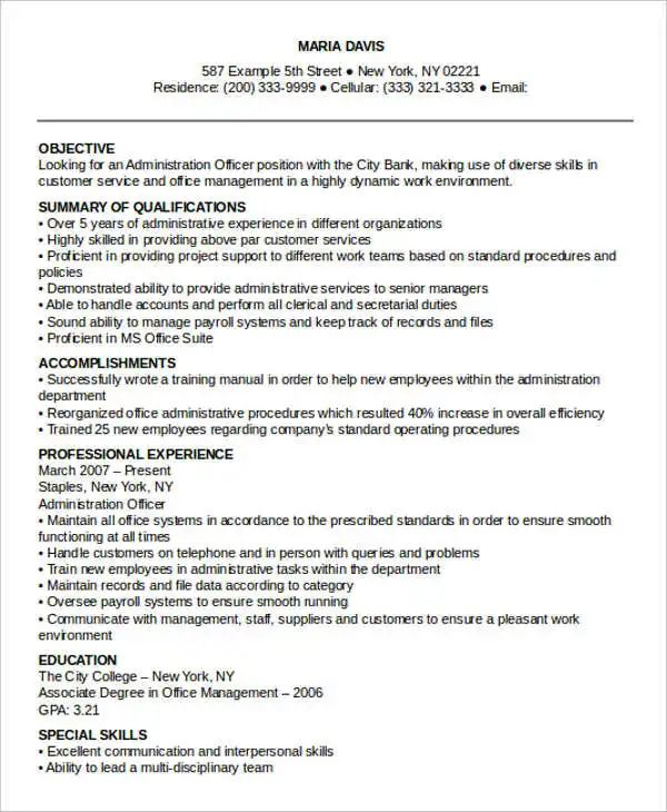 administrative officer resume template