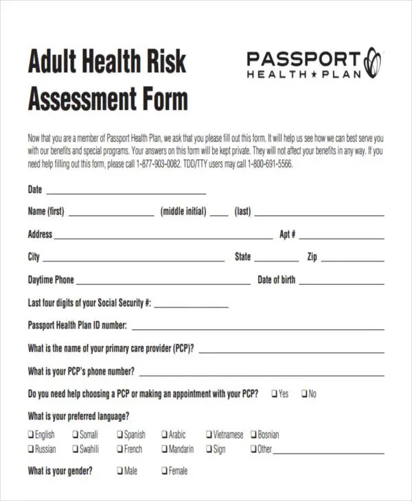 24+ Risk Assessment Form Templates Free \ Premium Templates - health risk assessment template