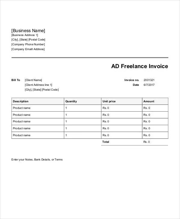 7+ Advertising Invoice Templates - Free Word, PDF, Excel Format