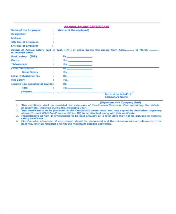 Salary Certificate Formats - 17+ Free Word, Excel, PDF Documents - employee certificate sample