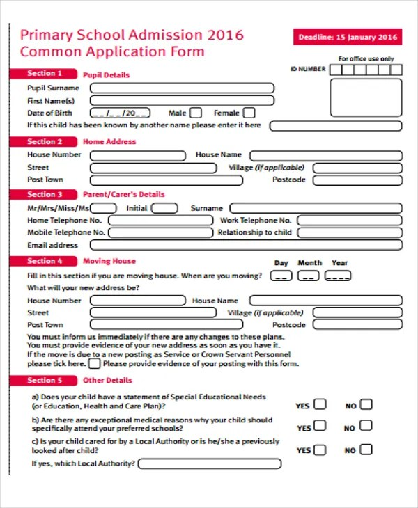 Form For School Admission ophion - form for school admission