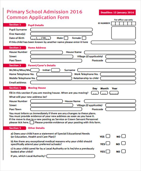 48+ Application Form Templates Free  Premium Templates - admission form school