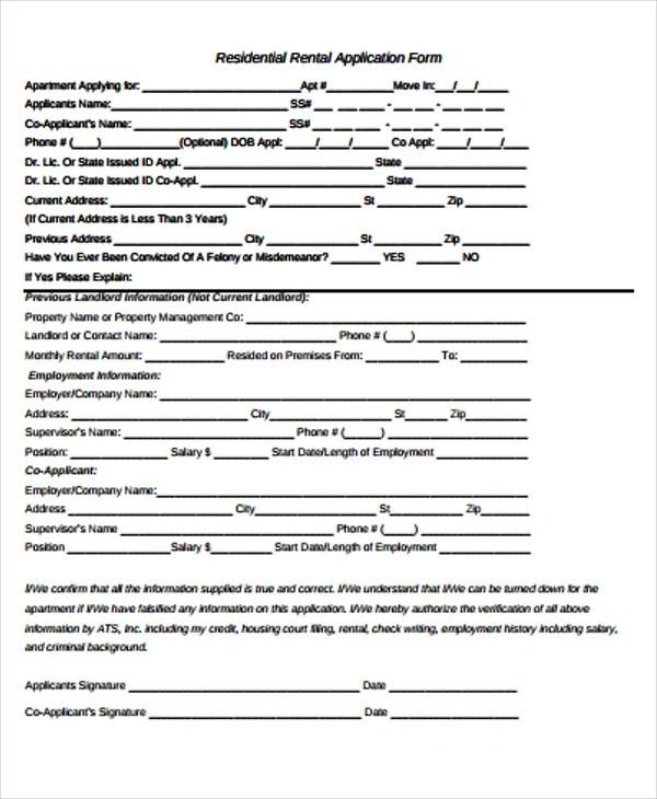 48+ Application Form Templates Free \ Premium Templates - apartment application form