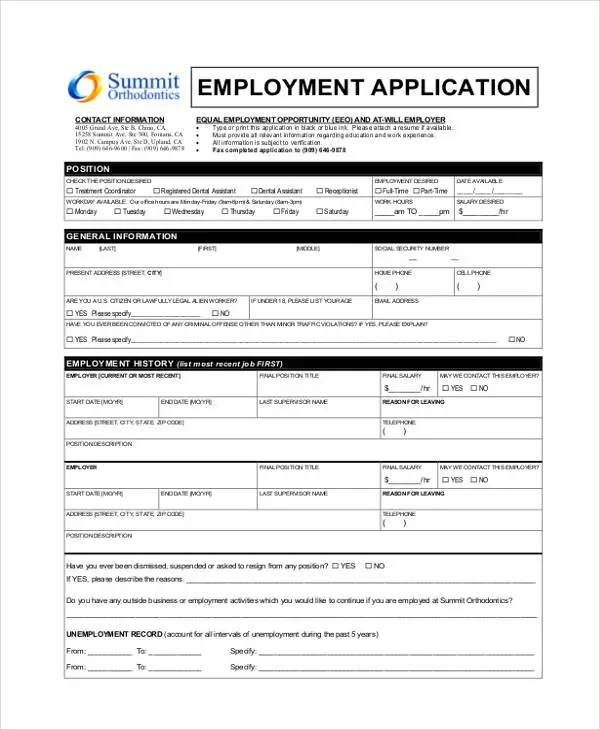 33+ Job Application Templates Free  Premium Templates - General Job Applications