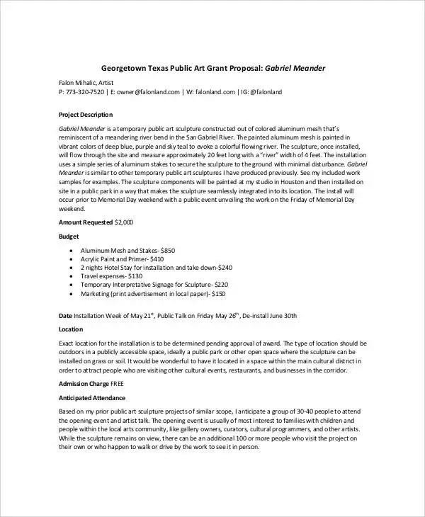 Art Proposal Templates - 6+ Free Word, PDF Format Download Free - art proposal template