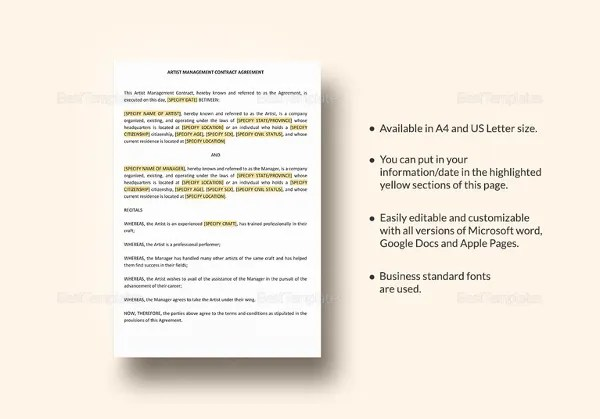 10+ Artist Contract Templates - Free Sample, Example Format - sample artist contract template