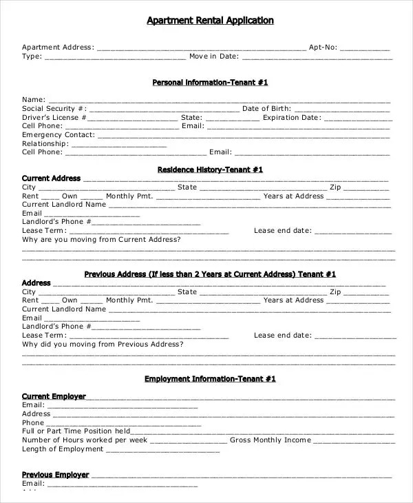 17+ Printable Rental Application Templates Free  Premium Templates