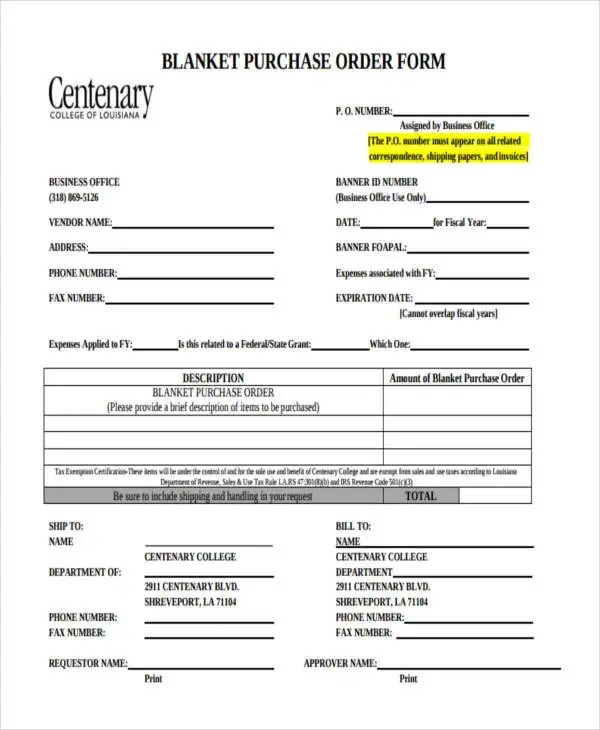 11+ Purchase Order Forms - Free Samples, Examples Formats Download - purchase order form example