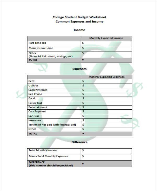college student budget spreadsheet