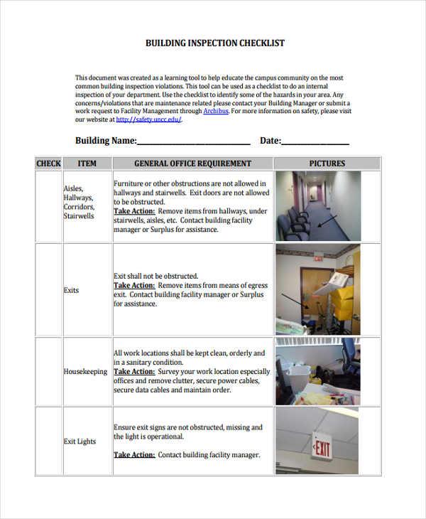 8+ Building Checklist Templates - PDF, Word Format Download Free