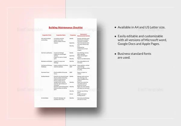 Building Checklist Templates - 15 Free Word, PDF Format Download