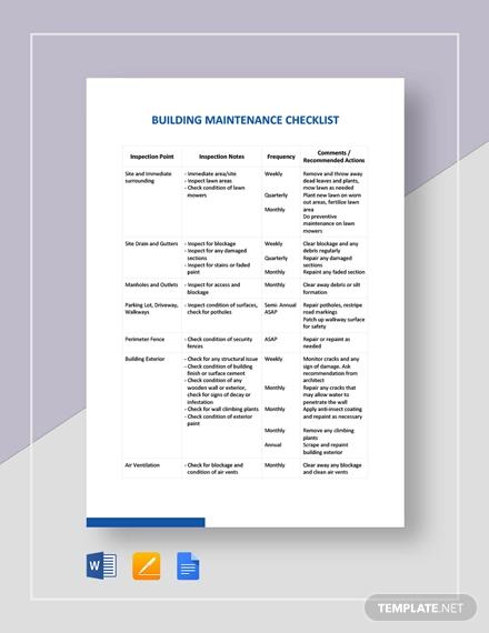28+ Maintenance Checklist Templates - PDF, DOC Free  Premium