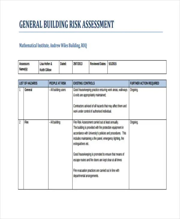 30+ Risk Assessment Samples Free  Premium Templates - Sample General Evaluation Template