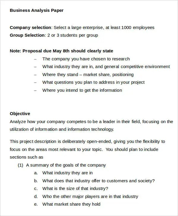 11 Business Paper Templates - Free Sample, Example, Format - analysis paper template