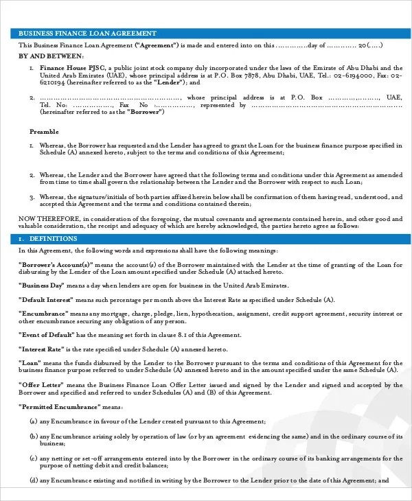 29+ Loan Agreement Templates - Word, PDF, Pages Free  Premium