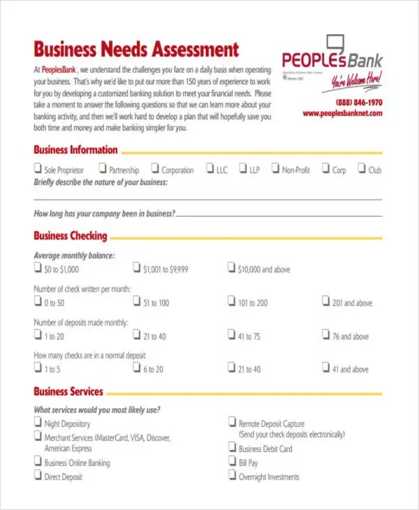 19+ Needs Assessment Form Templates Free  Premium Templates - business needs assessment template