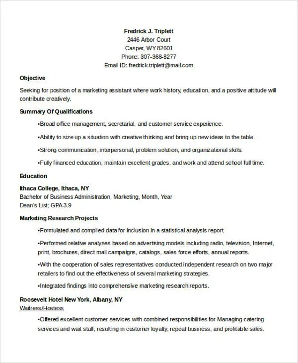 24+ Best Marketing Resume Templates - PDF, DOC Free  Premium - marketing objectives for resume