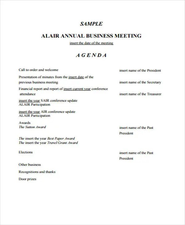 Annual Meeting Agenda Template todaysclix