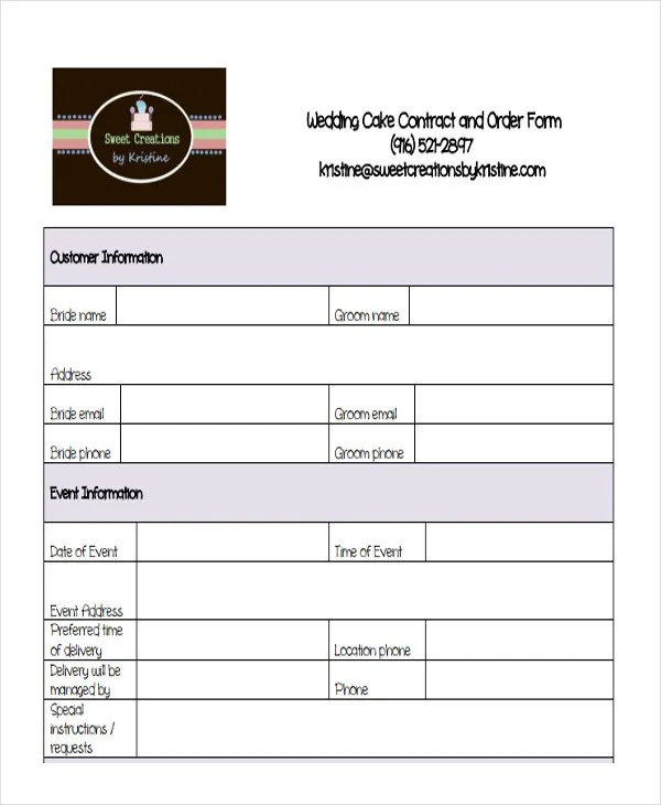 9+ Cake Order Forms - Free Samples, Examples, Format Download Free - sample cake order form template