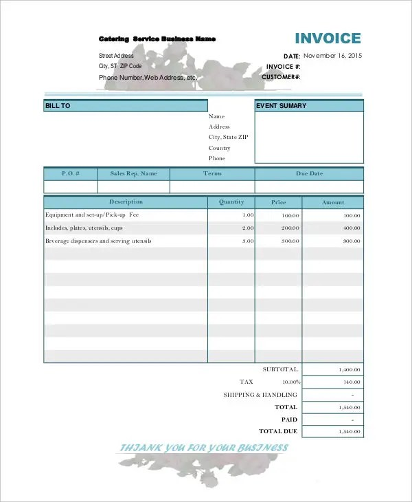 Catering Invoice Templates - 8 Free Word, PDF Format Download Free