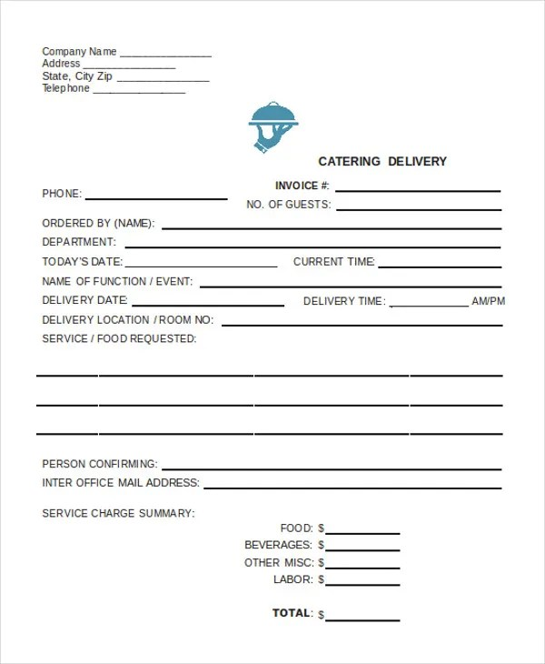 Delivery Invoice Templates - 4+ Free Word, PDF, Format Download - catering invoice template excel