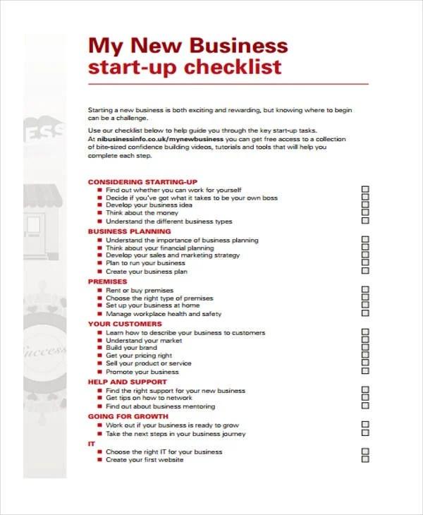 Business Startup Checklist checklist to start a new business in - business startup checklist