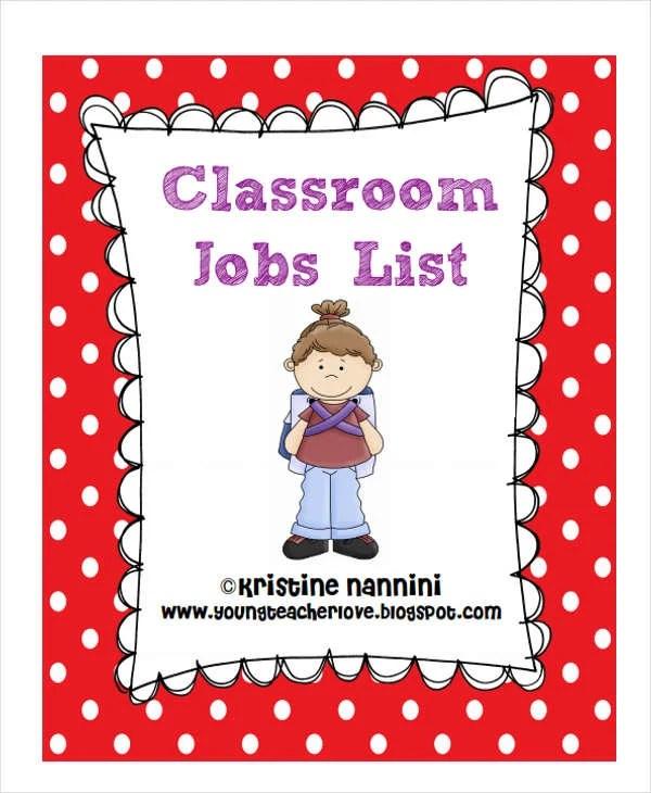 Job List Templates - 6+ Free Word, PDF Format Download Free - classroom list template