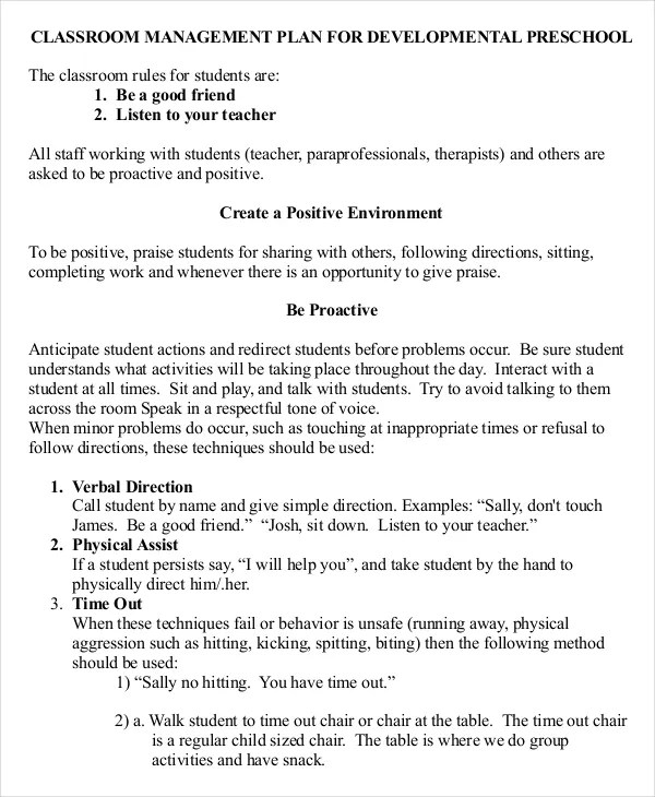10+ Classroom Management Plan Templates -Free Sample, Example Format - clroom management plan template