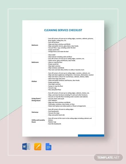 Cleaning Checklist - 31+ Word, PDF, PSD Documents Download Free